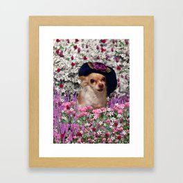 Chi Chi in Purple, Red, Pink, White Flowers, Chihuahua Puppy Dog Framed Art Print