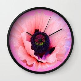 PURPLE  POPPY FLOWER  VIGNETTE Wall Clock