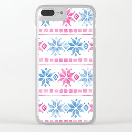 White Blue & Pink Norwegian Winter Pattern Clear iPhone Case