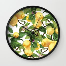 Watercolor lemon Wall Clock