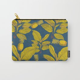 Exotic Pineapple Tropical Banana Palm Leaf Print Carry-All Pouch