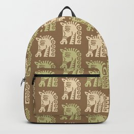 Mid Century Horse Pattern Brown Sage and Beige Backpack