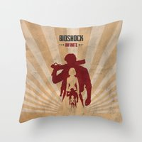 bioshock infinite Throw Pillows featuring Bioshock Infinite - Booker and Elizabeth by Art of Peach