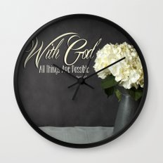 With God All Things Are Possible - Hydrangea Flower Wall Clock