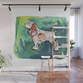 Cavalier King Charles Spaniel Dog Painting on Victorian Green Wall Mural