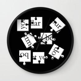bottom dollar puzzle - black Wall Clock