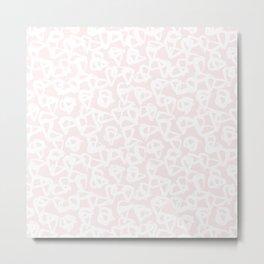 Blush Pink White Abstract Metal Print