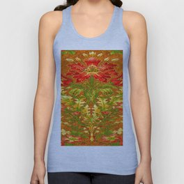French Nouveau Red-Green Floral Caramel Color Designs Unisex Tank Top