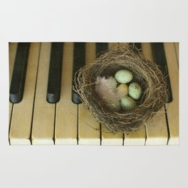 Chocolate Eggs in a Birds Nest on a Vintage Piano. Rug