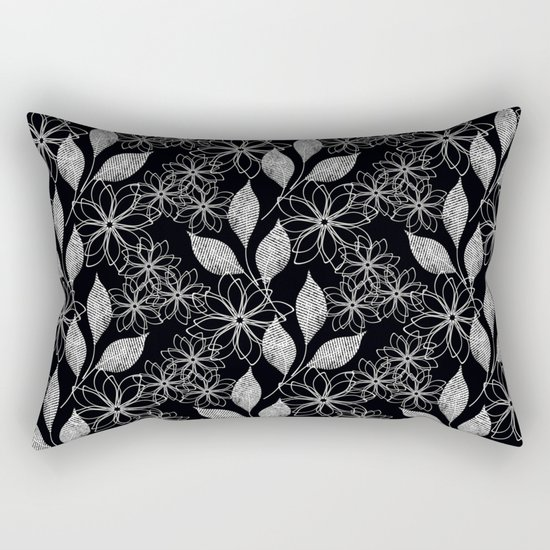 Abstract floral black and white pattern. Rectangular Pillow