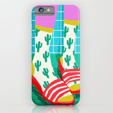 Sliders - memphis throwback retro neon 1980s 80s style pop art shoe fashion grid pattern socks iPhone 6 Slim Case