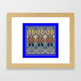 Ornate blue & Yellow Art Nouveau Butterfly Red Designs Framed Art Print