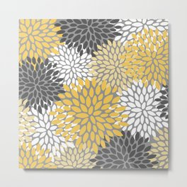 Modern Elegant Chic Floral Pattern, Soft Yellow, Gray, White Metal Print