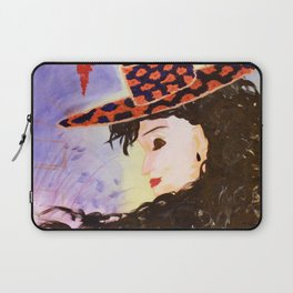 Madame Chapeau: Acrylic Painting of a woman with a charming hat Laptop Sleeve