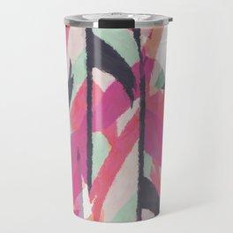 Abstract watercolor pink black teal aztec Travel Mug