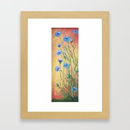 Bachelor Buttons, Flower Painting, by Faye Framed Art Print