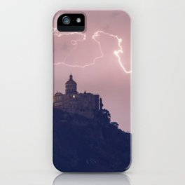 Amazing lightning around the church iPhone Case