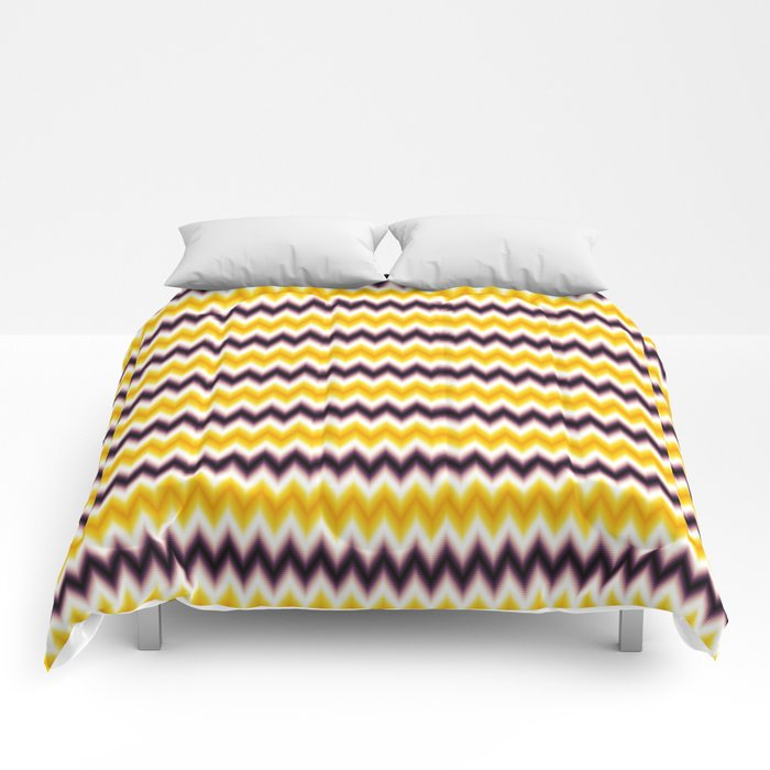 Chevron/Zigzagging Gradual Yellow & Dark Purple Color Comforters