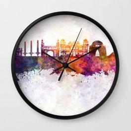 Karachi skyline in watercolor background Wall Clock