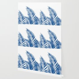 Palm Leaves Dark Blue Wallpaper