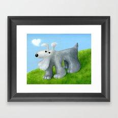 Dog With Cloud Heart Framed Art Print