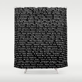 Banned Literature Internationally Print on Black Shower Curtain