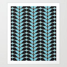 Retro wavy pattern. Blue and Black. Art Print