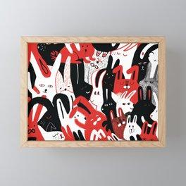 Bunnies - Cute rabbit family hand drawn illustration Framed Mini Art Print