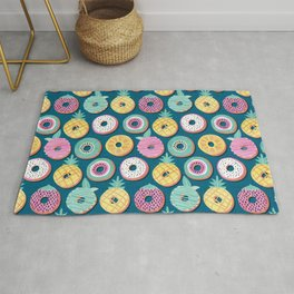 Undercover donuts // turquoise background pastel colors fruit donuts Rug