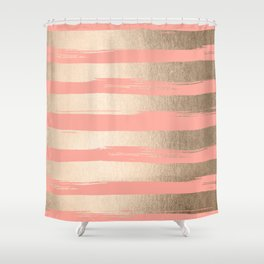 Painted Stripes Tahitian Gold On Coral Pink Shower Curtain