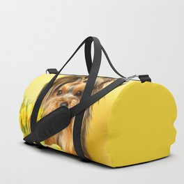 Spring Yellow Crocuses With Yorkie Puppy #decor #society6 Duffle Bag