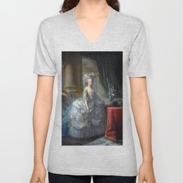 Elisabeth Louise Vigee Le Brun - Marie Antoinette in Court Dress Unisex V-Neck