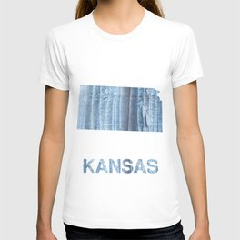 Kansas map outline Light steel blue nebulous watercolor paper T-shirt