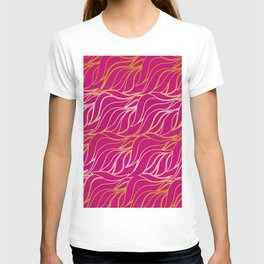 Golden waves on pink T-shirt