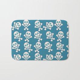 Blue seamless background. Skull and bones. Pirates. Bath Mat