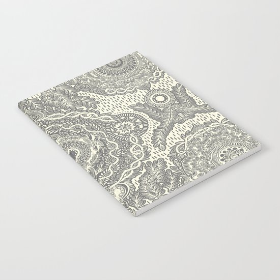 Rain in the Garden - grey and cream Notebook