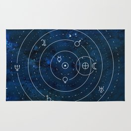 Planets Symbols on Nightsky Rug