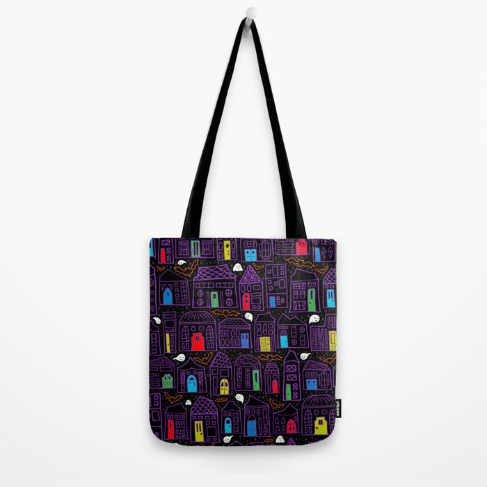 Happy Haunted House City // Colored Doors, Quirky Houses, Smiling Ghosts, and Friendly Bats Tote Bag