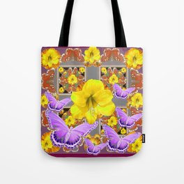 LILAC BUTTERFLIES & YELLOW AMARYLLIS FLOWERS Tote Bag
