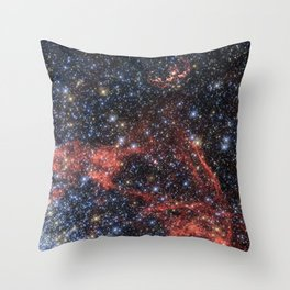 Death of a Star - Red Wispy Remains of Giant Supernova Throw Pillow