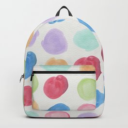 Colorful trendy colors large watercolor polka dots Backpack