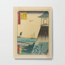 Utagawa Yoshitaki - 100 Views of Naniwa: Sumiyoshi Grand Shrine (1880s) Metal Print
