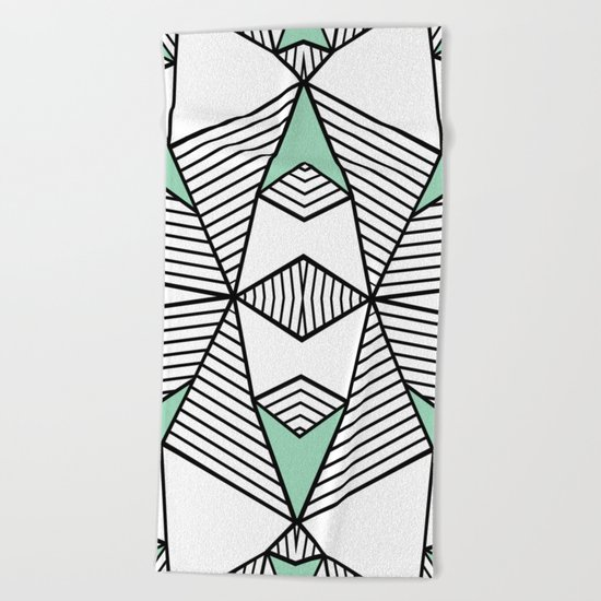 Triangle Tribal Mint Beach Towel