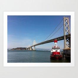 SF Bay Bridge Fire Boat Art Print