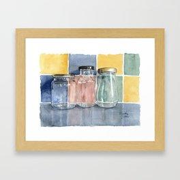 Three glass jars, watercolour Framed Art Print