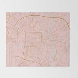 Pink and gold Chiang Mai map, Thailand Throw Blanket