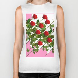 RED LONG STEMMED ROSES & PINK COLOR Biker Tank