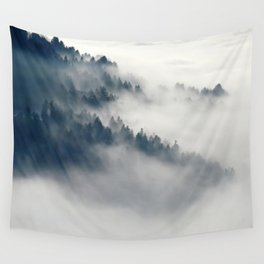 Mountain Fog and Forest Photo Wall Tapestry