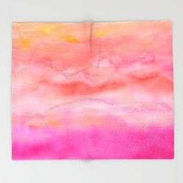 Bright pink orange sunset watercolor hand painted Throw Blanket