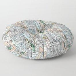 New York watercolor Floor Pillow